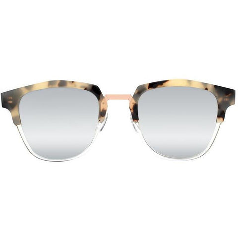 Tortoise brow line sunglasses with mirror lenses view 1