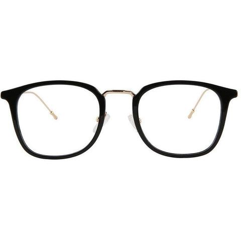 Black square plastic glasses with gold rims and temples view 1