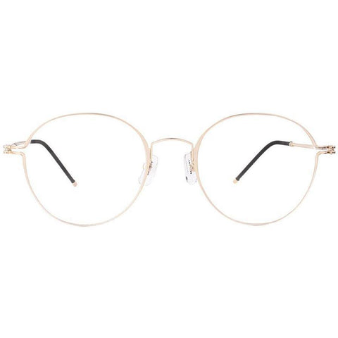 Thin framed gold round glasses view 1