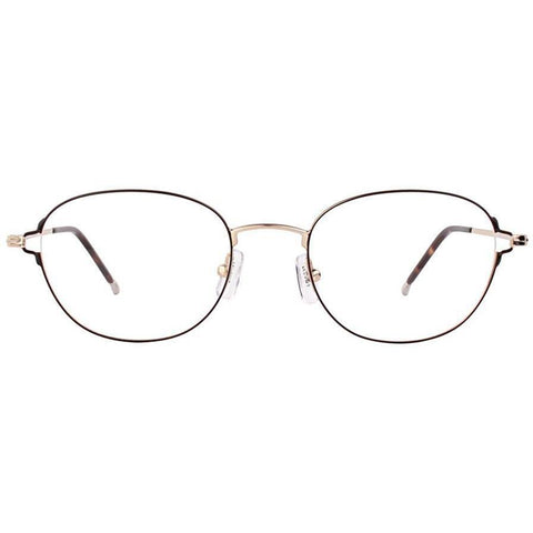 Black thin framed oval glasses with gold rims and temples view 1