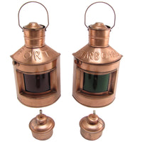 Port and Starboard Oil Lamp Ship Lights Set Maritime Decor