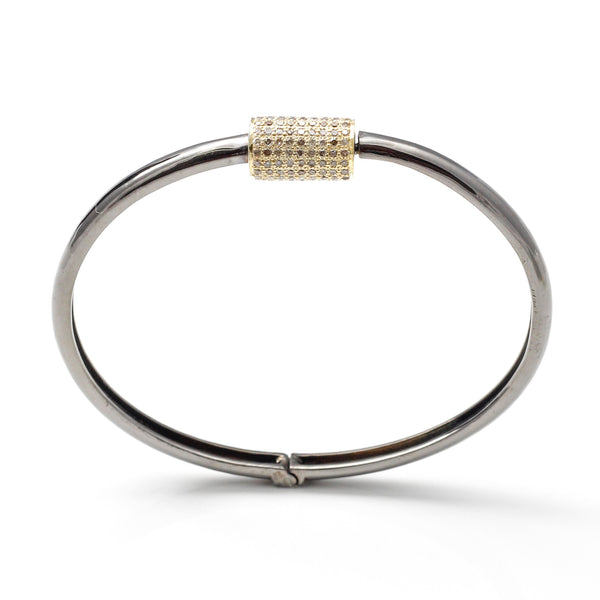 Barrel Bracelet with Pave Diamonds