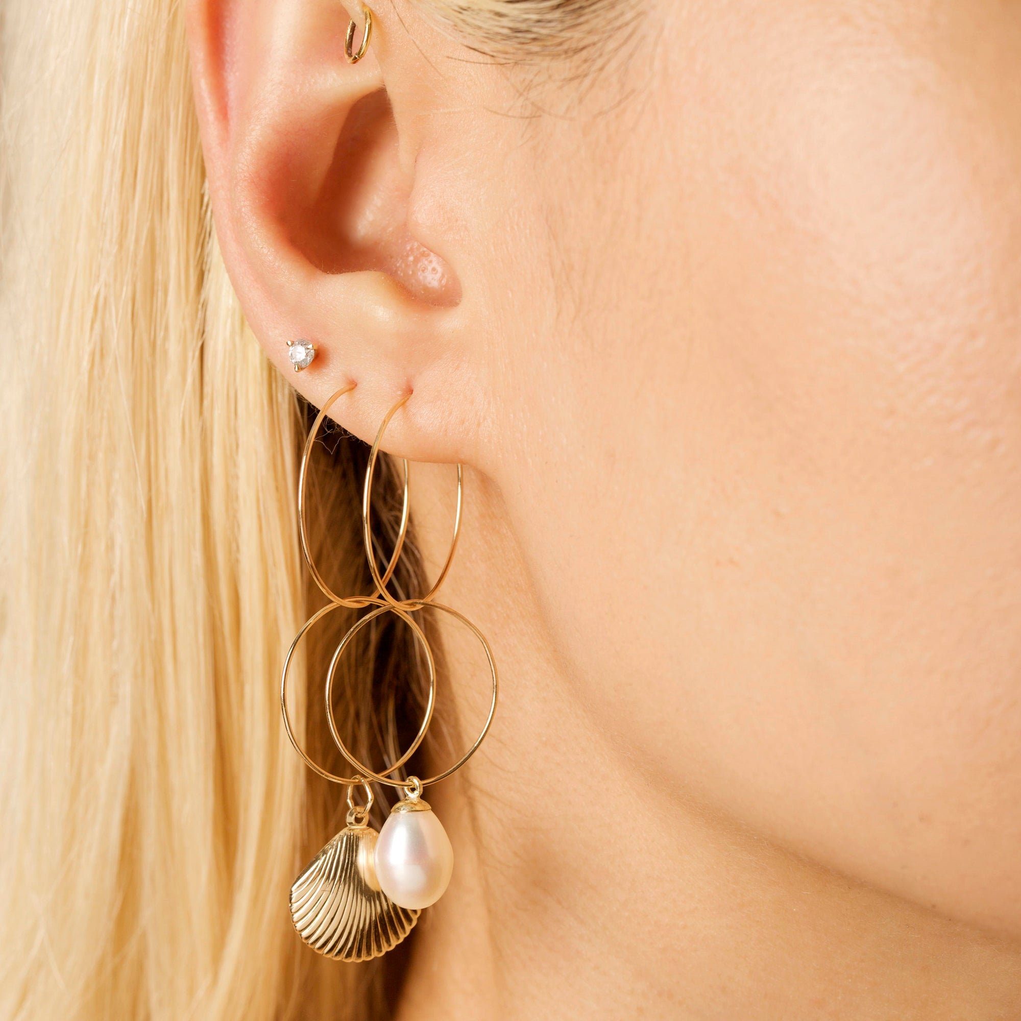 Gold Filled Mermaid Dreams Pearl and Shell Earrings