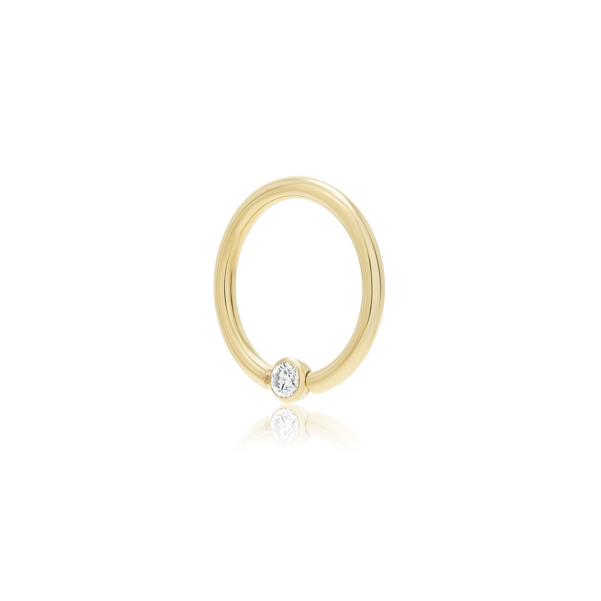 "16 Gauge Gold 3/8"" Bezel Diamond Fixed Bead Ring"