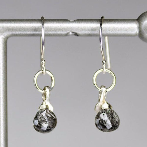 XE2BQS Black Rutliated Quartz Earring with Silver accent