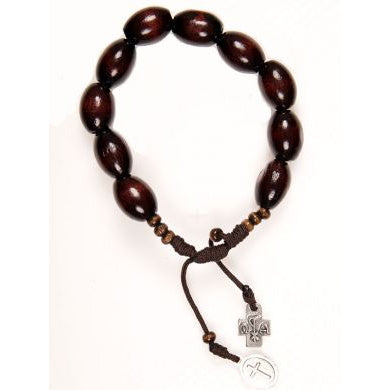 Dark Brown Wooden Bead Rosary Bracelet
