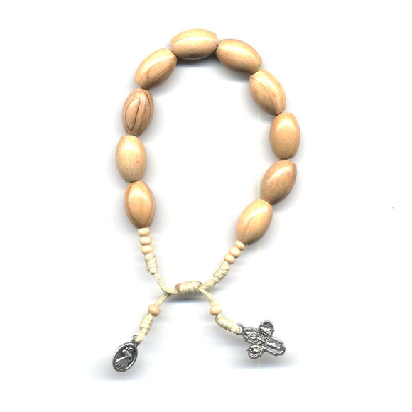 Light Brown Wood Bead Rosary Bracelet