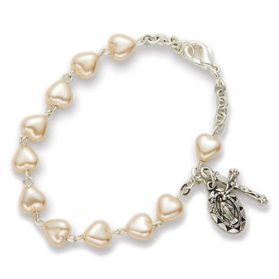 5MM White Heart Shaped Bead Rosary Bracelet