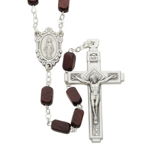 Dark Brown Rectangle Wood Bead Rosary