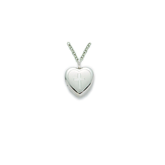 Heart & Cross Locket in Silver