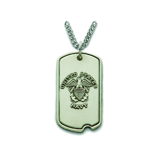 St. Michael Sterling Silver Navy Dog Tag