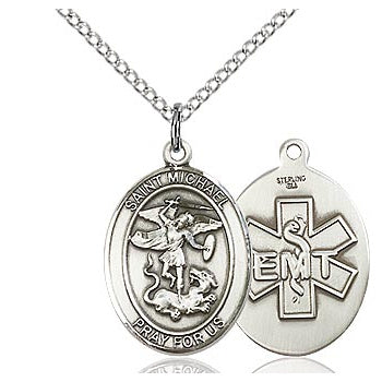 St. Michael Sterling Silver Oval EMT Medal with Stainless Chain
