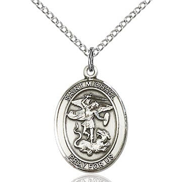 St. Michael the Archangel Sterling Silver Oval Medal
