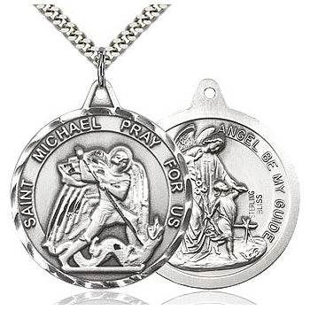 St. Michael/Guardian Angel Sterling Silver Medal