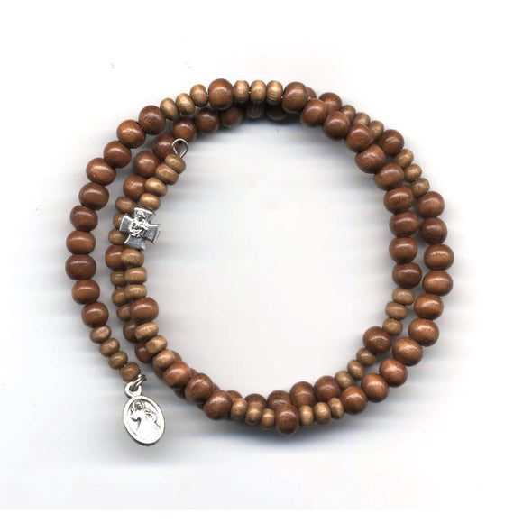 Wrap Rosary - Light Brown Beads