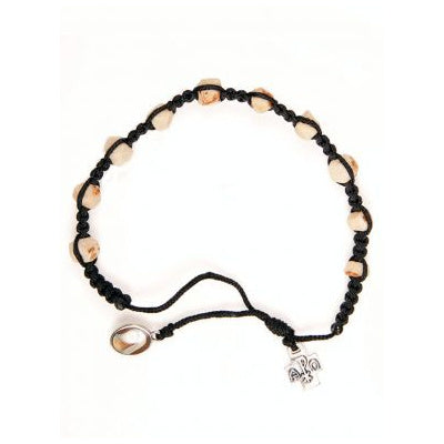 Rock Bead and Black Rope Rosary Bracelet