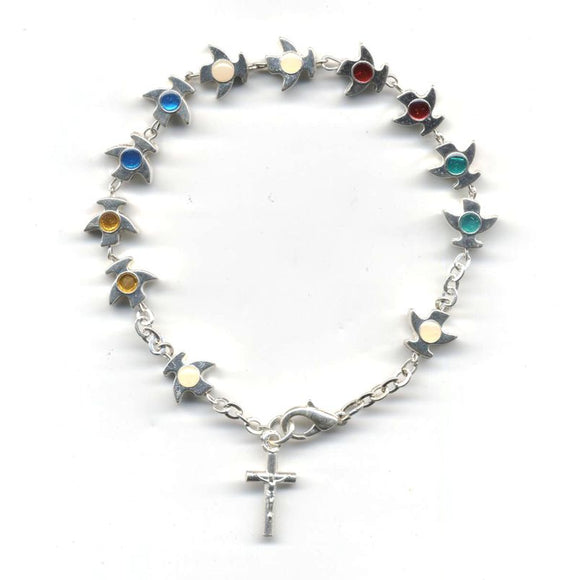 Medjugorje Holy Spirit Rosary Bracelet with Multi-Colored Enamel