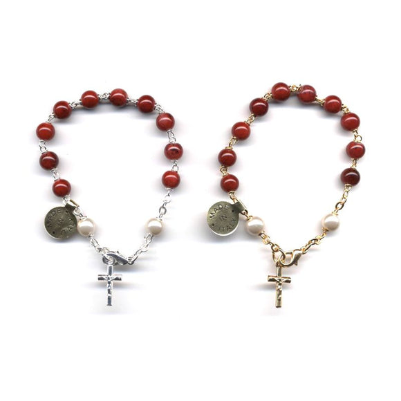Marbled Red Rosary Bracelet
