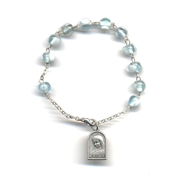 Light Aqua and White Murano Rosary Bracelet