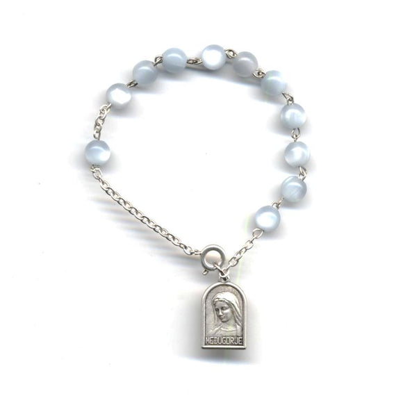 Gray Faux Mother of Pearl Rosary Bracelet