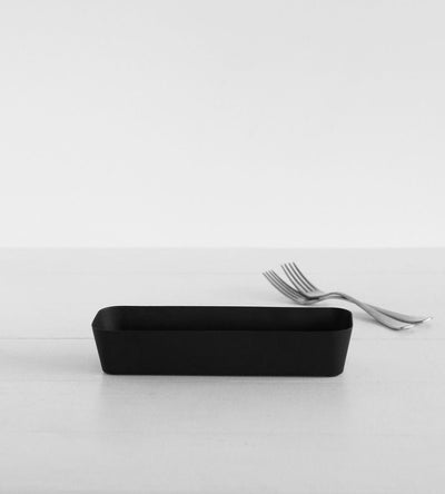 Yamazaki cutlery case, white and black, protect cutlery.