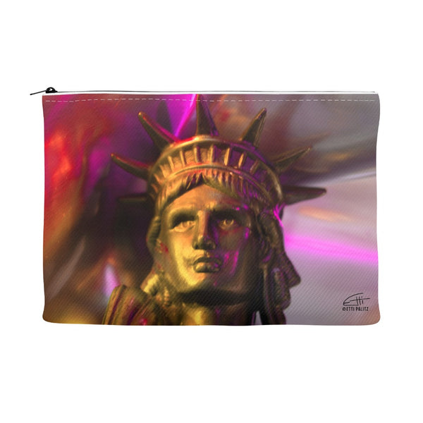 In Love with New York 'Liberty In Gold' Canvas Cosmetic Clutch