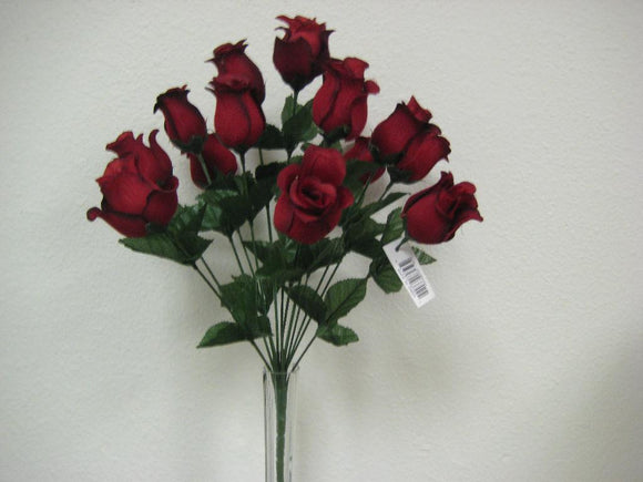 Rose Bud Bush 14 Artificial Silk Flowers 17