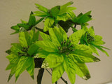 "4 Bushes Christmas Glitters Poinsettia 7 Artificial Silk Flowers 12"" Bouquet 2209 - Phoenix Silk Flower Marketplace"