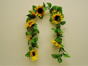 "Sunflowers Garland Artificial Silk Flowers 65"" Vine 8866YL - Phoenix Silk Flower Marketplace"