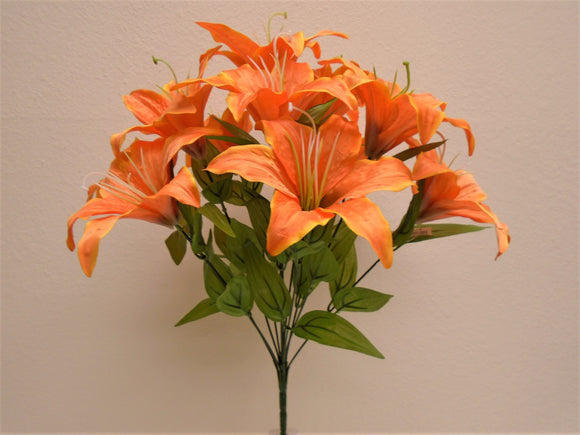 Tiger Lily Bush Satin 11 Artificial Flowers 19