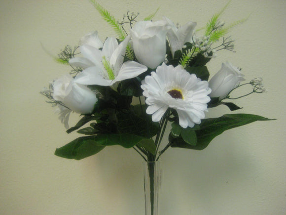 WHITE Mixed Rose Daisy Lily Bush 14 Artificial Silk Flowers 15