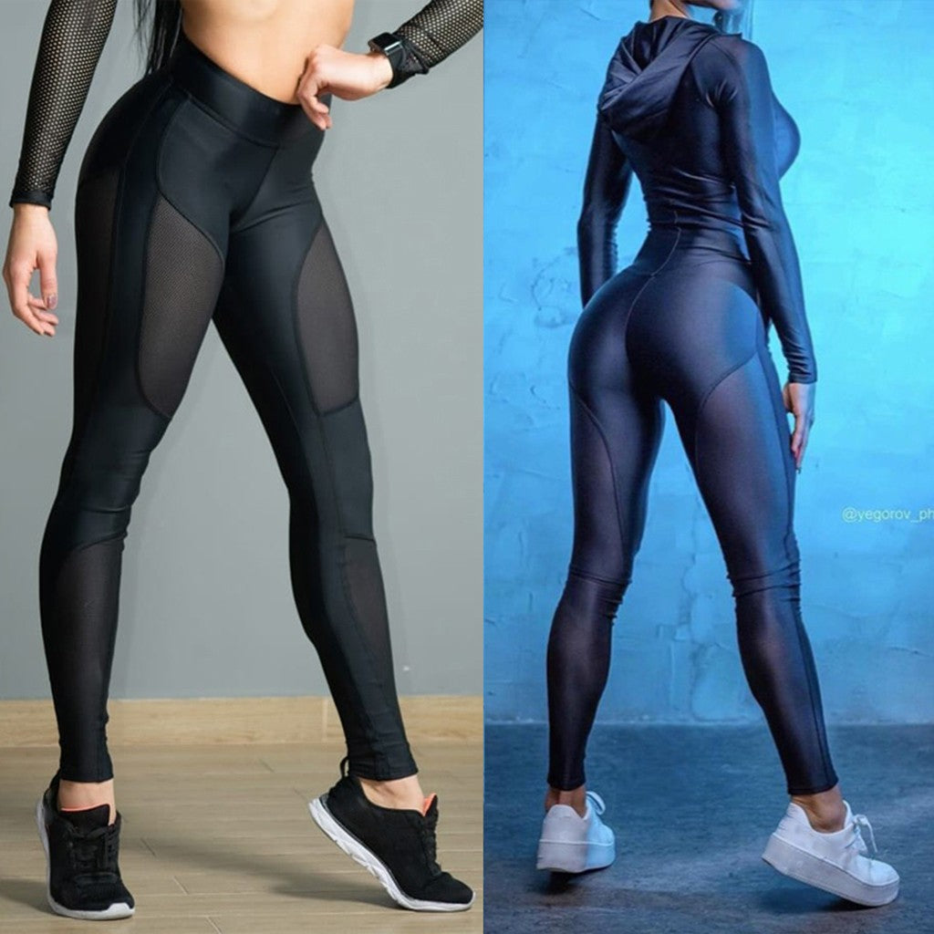 Women's See-through Workout Leggings Fitness Sports Gym Yoga Athletic Pants