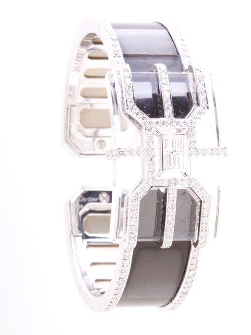Rock Crystal Diamond & Black Enamel Bangle White Gold only 30 made.