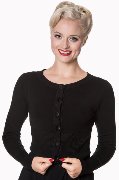 Banned Apparel Dolly basic black cardigan modeled