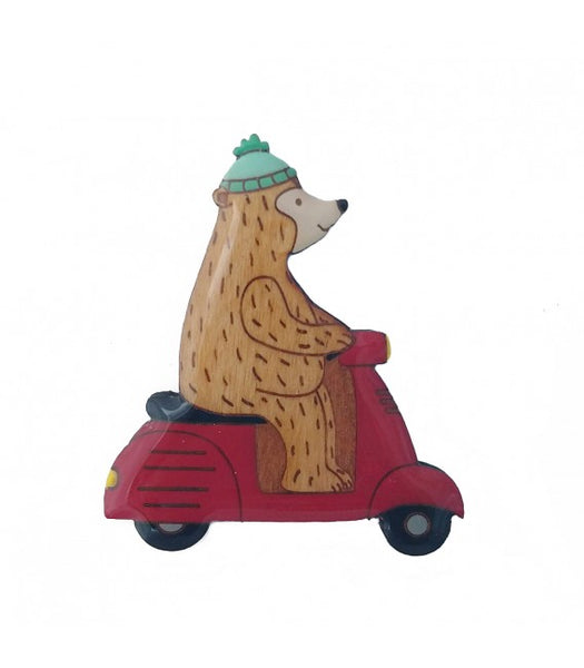 bear on a scooter novelty brooch