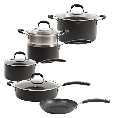 Oster Brawley 10 Piece Non-Stick Hard Anodized Aluminum Cookware Set, Charcoal