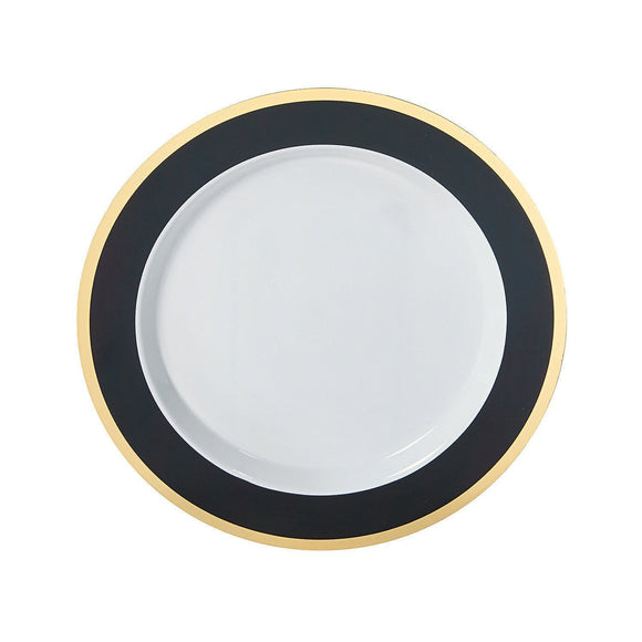 Black & Gold Border Premium Plastic Dinner Plates