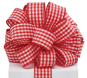 "Red Gingham Satin Wired Ribbon #9 1.5""x20 Yds"