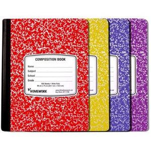 A+Homework Marble Composition Book, Assorted Colors, Pack of 24 (UC1923)