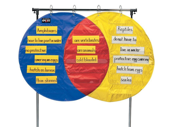 School Smart Venn Diagram Pocket Chart - 23 Pockets - 54 x 35 1/2 inches