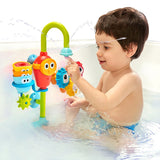 Baby Bath Toy- Spin N Sort Spout Pro- Three Stackable Cups, Automated Spout, and Spinning Suction Cup Gears