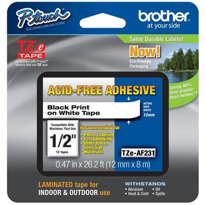 brother p-touch 2 pack genuine brother 1 12mm black on white acid free adhesive tze p-touch tape for pt-2210 pt2210 label maker