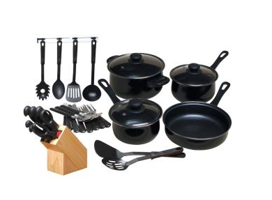 Gibson Home Kitchen 32 Piece Chef Du Jour Cookware Set, Black