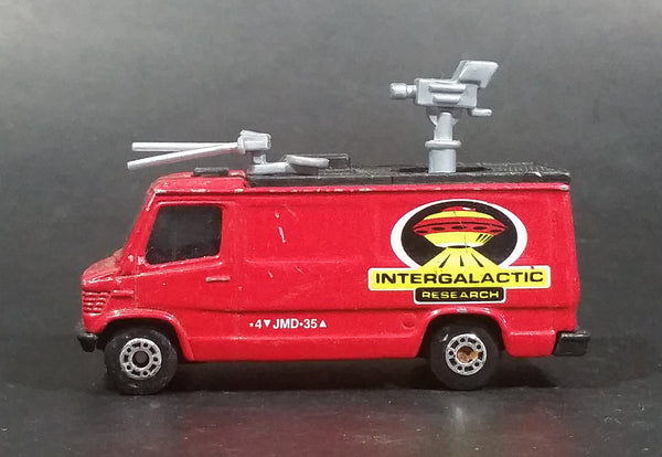1999 Matchbox Intergalactic Research TV News Truck Van Red Die Cast Toy Car Vehicle - Treasure Valley Antiques & Collectibles