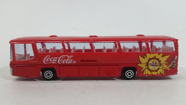Majorette Coca-Cola Coke Soda Pop Beverage Sun Neoplan 1/87 Scale No. 373 Bus Red Plastic and Die Cast Metal Toy Car Vehicle