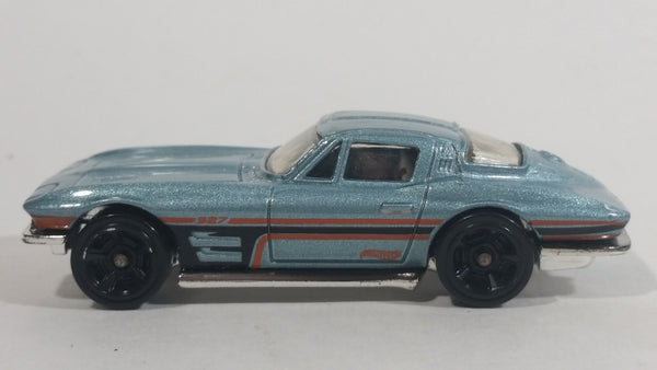 2013 Hot Wheels HW Showroom Corvette 60th '64 Corvette Sting Ray Pearl Light Blue Die Cast Toy Classic Muscle Car Vehicle