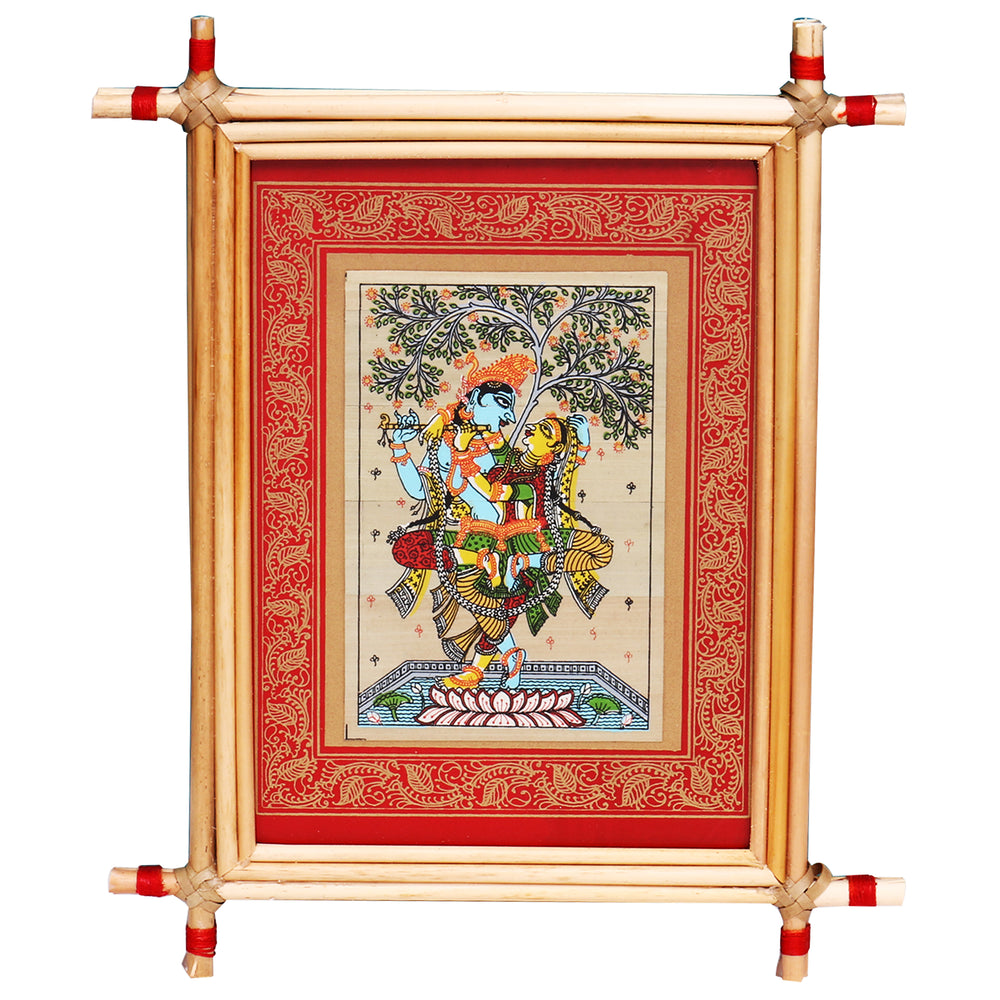 Lemon grass frame of Lord krishna and radha on palmleaf for Wall hangingsWD36