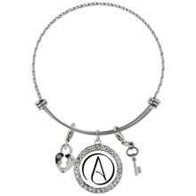 Chloe Atheist Symbol Stainless Steel Charm Bracelet White - Faithless Mortal Clothing