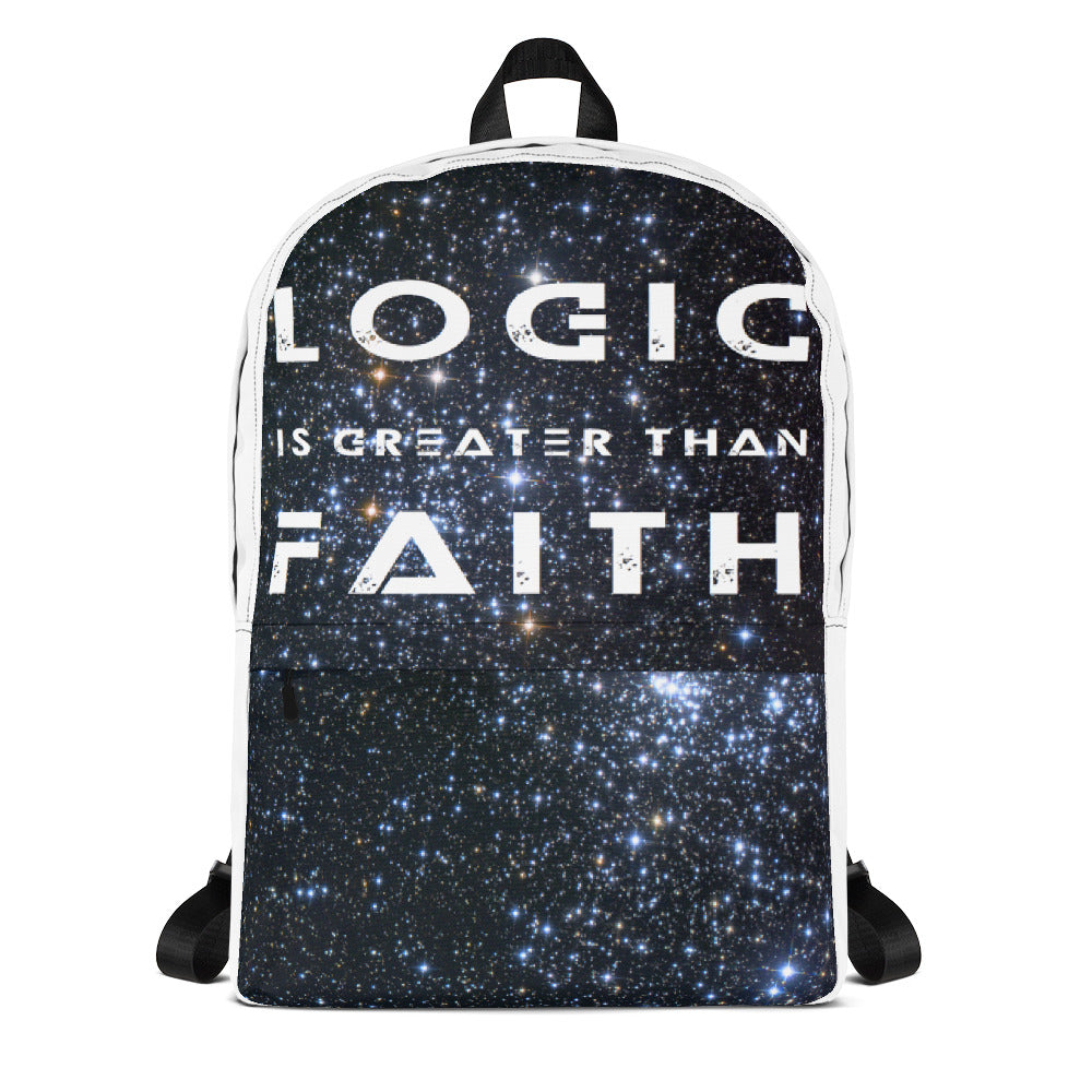 Logic Is Greater Than Faith Backpack - Faithless Mortal Clothing
