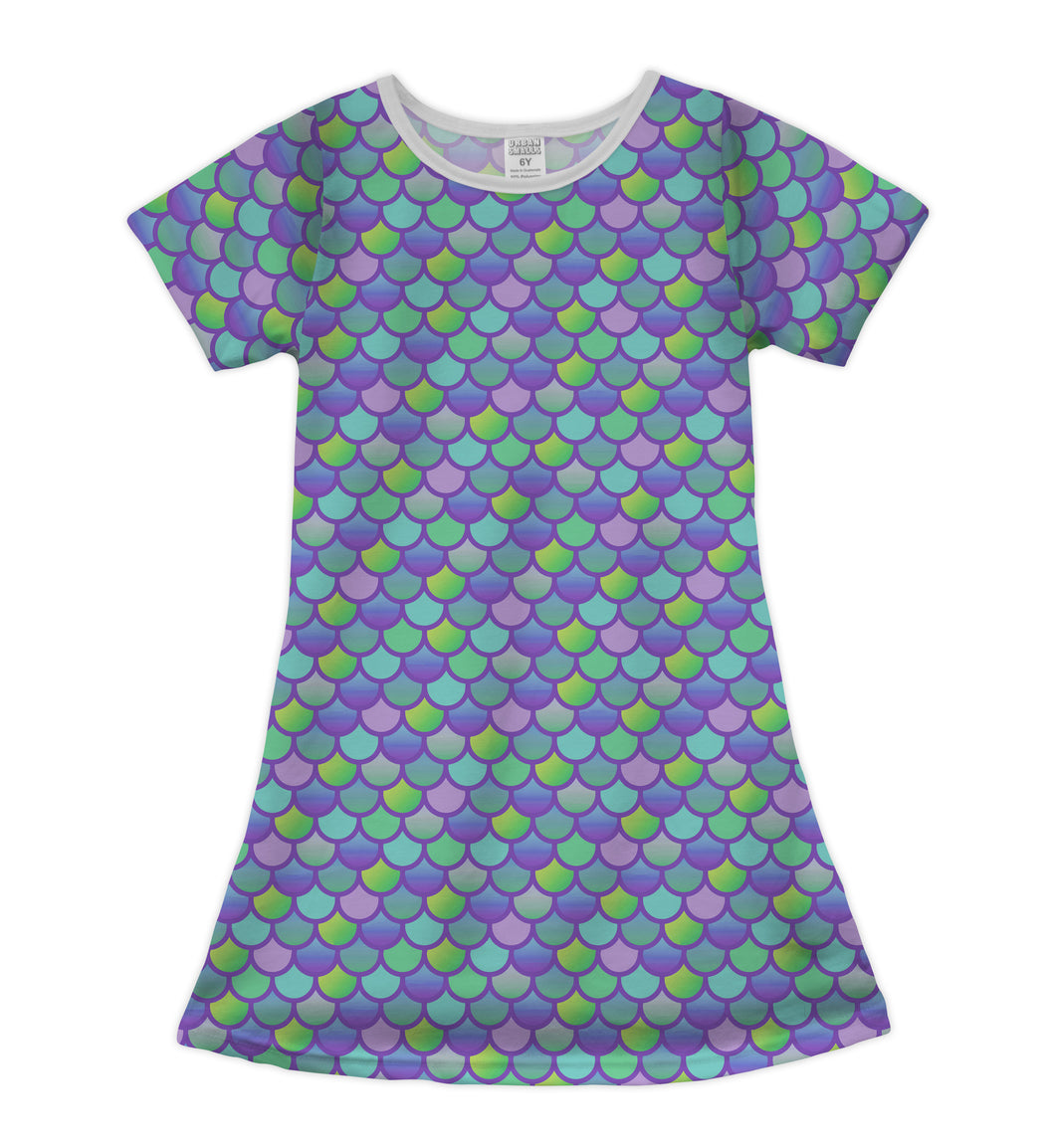 Lavender & Green Mermaid Scales Shift Dress